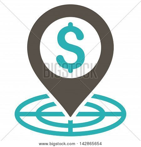 Financial Crosshair icon. Vector style is bicolor flat iconic symbol with rounded angles, grey and cyan colors, white background.