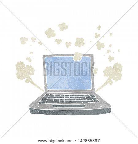 freehand retro cartoon laptop computer fault