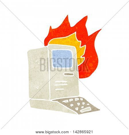 freehand retro cartoon old computer on fire