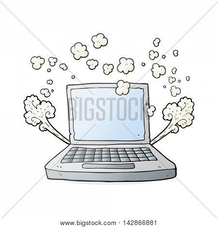 freehand drawn cartoon laptop computer fault
