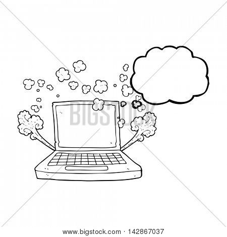 freehand drawn thought bubble cartoon laptop computer fault