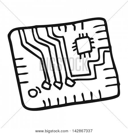 freehand drawn black and white cartoon computer circuitboard