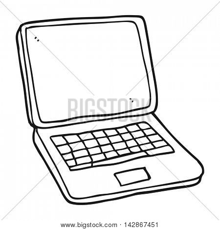 freehand drawn black and white cartoon laptop computer