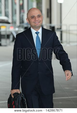 LONDON, UK, JUN 26, 2016: Sajid Javid arrives for the Andrew Marr Show at the BBC picture taken from the street