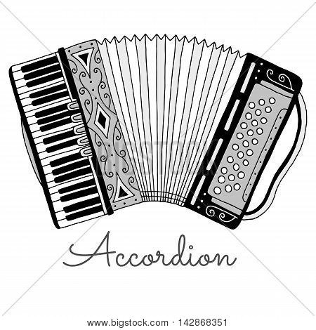 Hand drawn accordion vector illustration. Musical instrument on white background