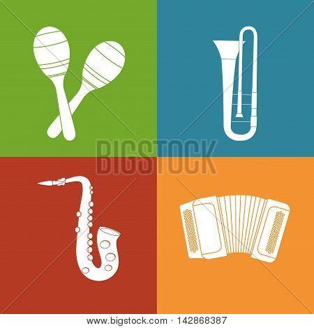 maraca trumpet saxophone accordion music sound instrument icon. Flat and Colorful illustration. Vector illustration