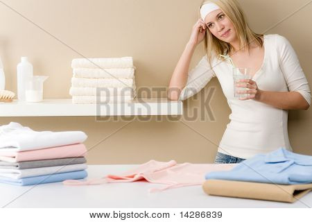 Laundry Ironing - Woman Break With Drink