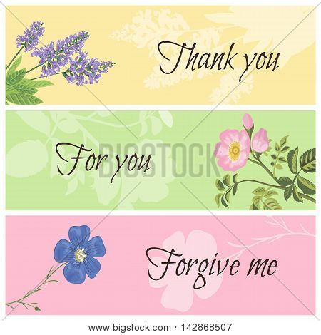 Vintage templates set floral horizontal banner. Sage dog rose and flax. Thank you for you forgive me vector botanical illustration.