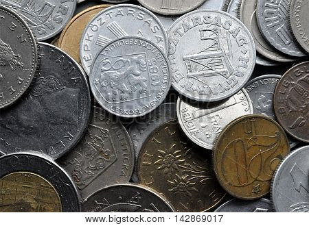 detail of old metal coins - Czechoslovakia