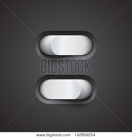 3d white toggle switcher on black background.. On and off modes. Realistic switcher design. Eps10 vector illustration.