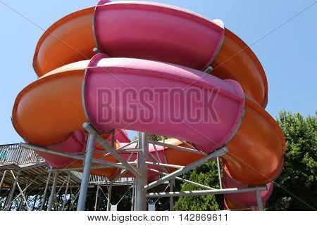 18TH JULY 2016, CALIS,TURKEY; Water slides at an aqua park in Calis in Turkey,18th july 2016