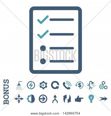 Checklist Page vector bicolor icon. Image style is a flat pictogram symbol, cyan and blue colors, white background.