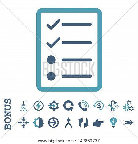 Checklist Page vector bicolor icon. Image style is a flat iconic symbol, cyan and blue colors, white background.