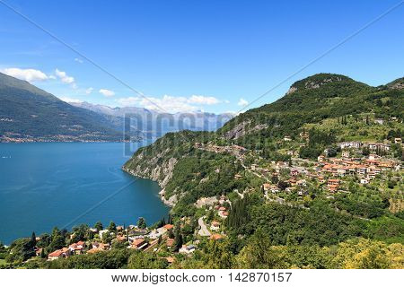 Panorama Of Lakeside Village Varenna At Lake Como With Mountains In Lombardy, Italy