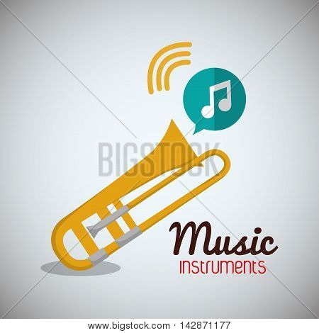 trumpet music sound instrument icon. Flat and Colorful illustration. Vector illustration
