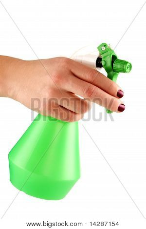 Hand Of A Young Female Holding Sprayer For Flowers