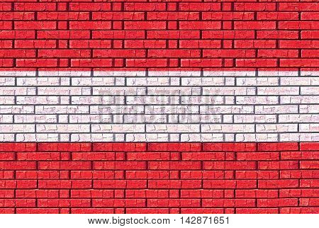 Illustration of the flag of Austria made to look like it has been painted onto a wall like graffiti