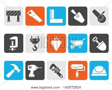 Silhouette Construction industry and Tools icons - vector icon set