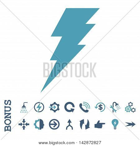 Execute vector bicolor icon. Image style is a flat iconic symbol, cyan and blue colors, white background.