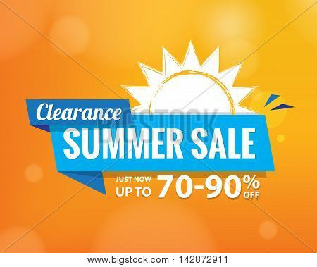 Summer Sale Bule Tag  Heading Design On Orange For Banner Or Poster. Sale And Discounts Concept. Vec