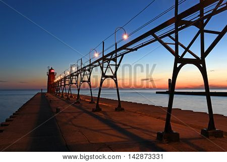 Lighthouse in South Haven Michigan at dusk