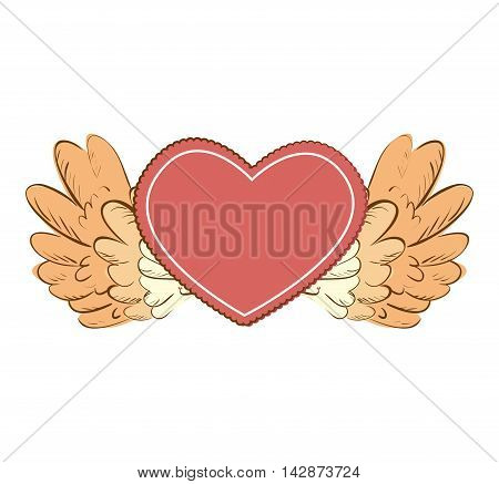 heart wing love romance valentine passion vector  isolated illustration