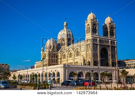 MARSEILLE, FRANCE - MAY 22, 2015: Sunny morning in Marseille. The magnificent Cathedral of Saint Mary Major
