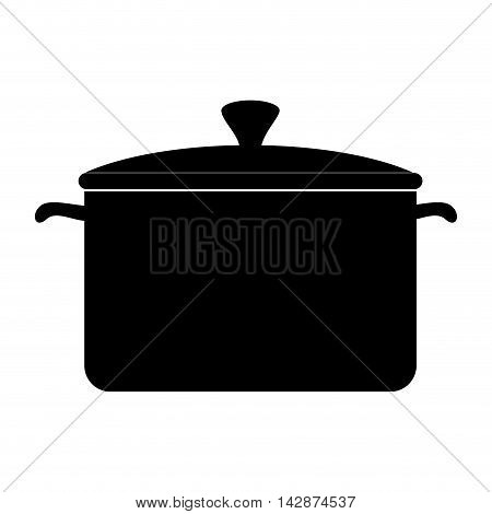 pot cooking pan kitchen cook silhouette cap utensil vector  isolated illustration