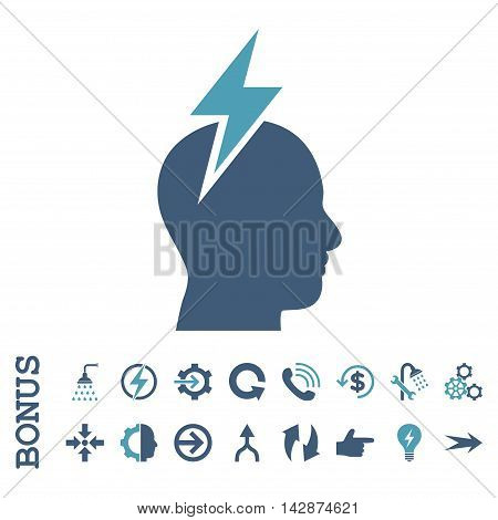 Headache vector bicolor icon. Image style is a flat iconic symbol, cyan and blue colors, white background.