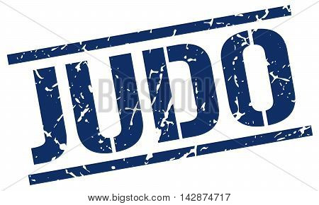 judo stamp. blue grunge square isolated sign