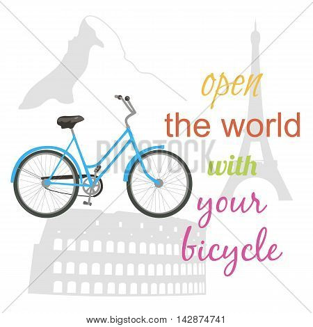 Riding a bicycle around the world. Travel concept. Vector illustration.