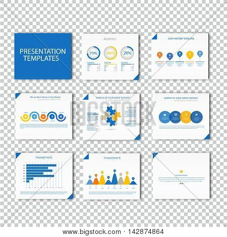 Multipurpose template for presentation slides with graphs and charts - blue color version. Perfect for your business report or personal use.
