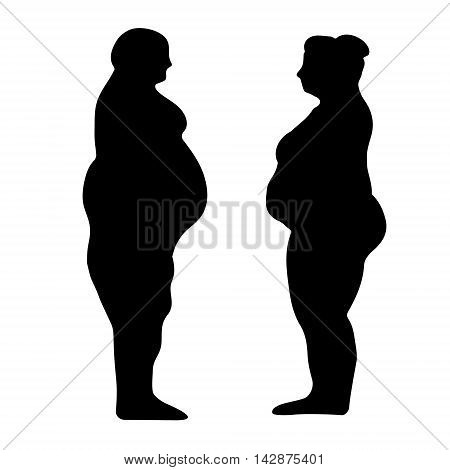 silhouette outline of a fat men and women the concept of weight loss slimming vector illustration for print or website desig