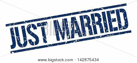 just married stamp. blue grunge square isolated sign