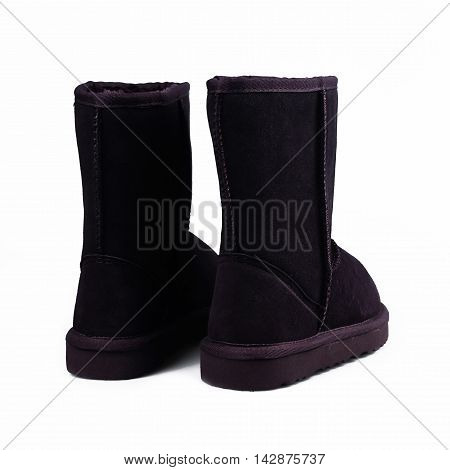 Fashion black winter boots in white background