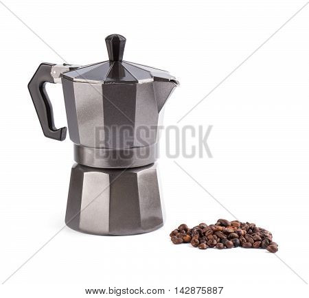 Italian Metallic Coffee Maker Isolated On White.