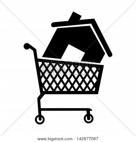 cart house buy add home residential building  vector  isolated illustration