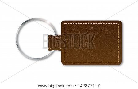 A brown leather key fob and ring over a white background