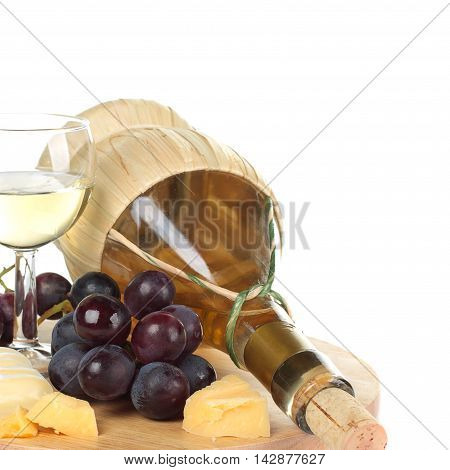 Gourmet food French cuisine - wine cheese and grapes