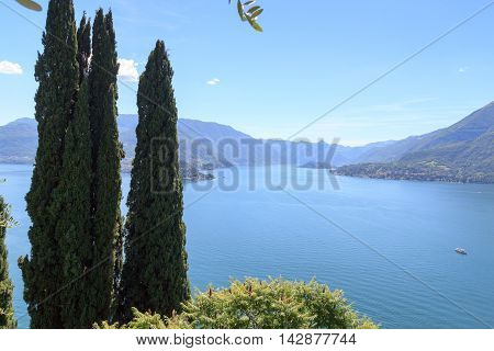Panorama of Lake Como with mountains and trees in Lombardy Italy
