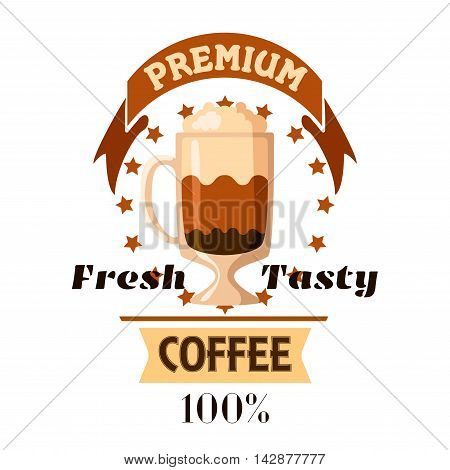 Coffee Cup. Fresh tasty cappuccino and latte icon for cafe label, cafeteria signboard, fast food menu, coffee shop emblem
