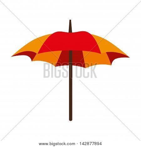 umbrella parasol striped color handle rain open weather vector  isolated illustration