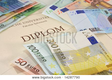 Diploma With Euro Notes