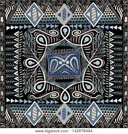 Colorful decorative pattern for shawl, bandana. Ethnic background