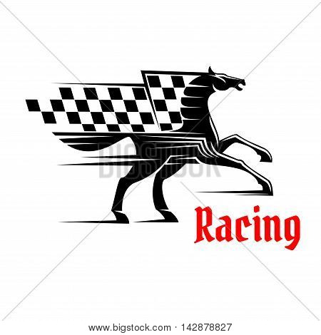Horse race icon with racing checkered flag. Mustang running graphic element. Vector design for sport club emblem, bookmaker signboard, team shield, badge, label