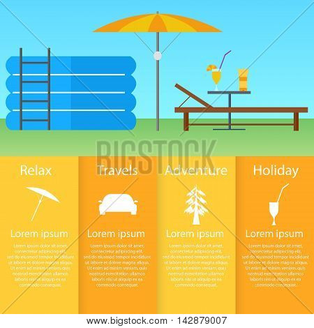 Inflatable pool sun lounger under an umbrella. Flat style. A table with a cocktail and sunscreen. Infographics rest and relaxation. Weekend out of town. Vector illustration.