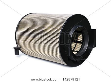 Replacement air filter for automobile engine on a white background
