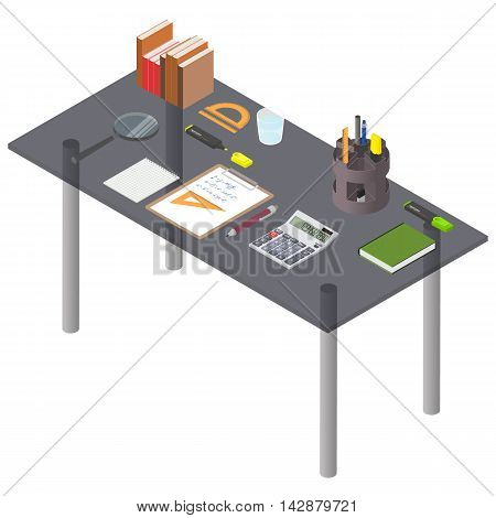 Workspace isometry. Glass Desk with stationery. Office tools on the desktop. Workplace of the businessman. Vector illustration.