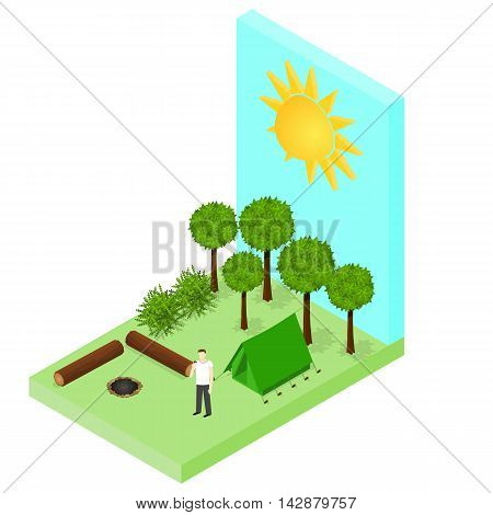 Campsite in the woods. Tent and logs around the campfire. Forest landscape. Isometric style. Tourist on vacation. Vector illustration.