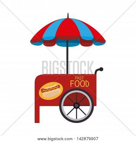 stall parasol food cart wheel fair vehicle hotdog vector  isolated illustration
